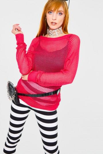 Pink Mesh Sweatshirt