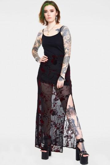 Red Floral Burnout Slit Skirt