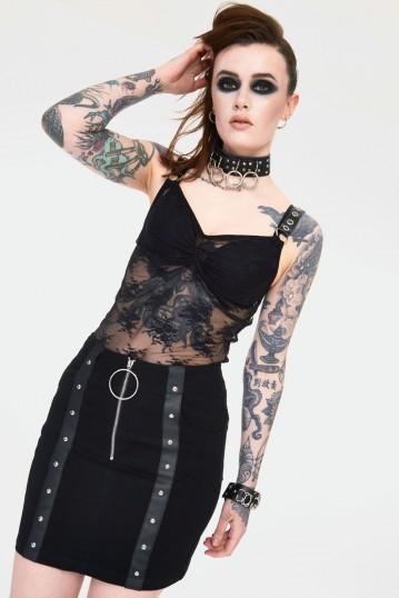 Release Me Black Denim Skirt