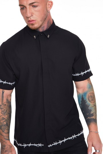 Black Shirt With Barbed Wire Embroidery