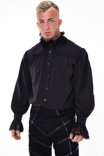 Gothic Shirt With Lace Collar and Cuffs