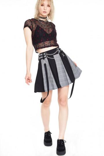 Houndstooth check half and half bondage skirt