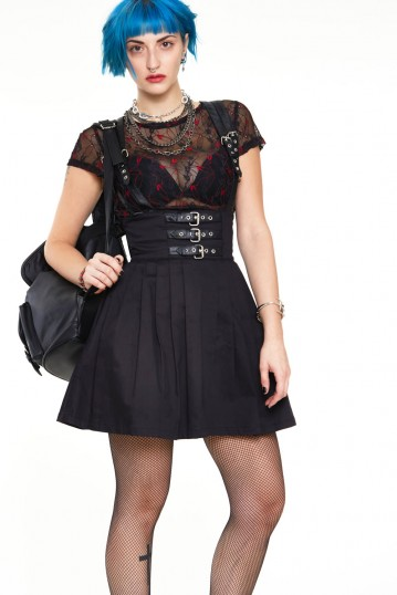 High waisted twill skirt with leather straps