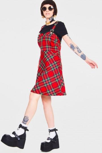 Tartan Troublemaker Dungaree Style Dress