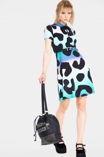 Technicoloured Leopard Skater Dress