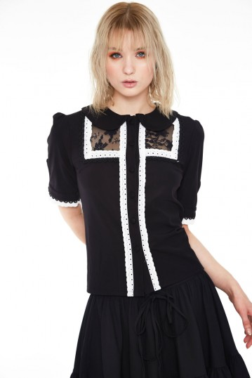 Lace and trim collared button up top