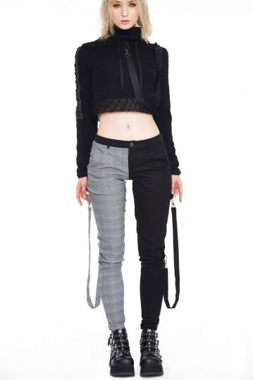 Houndstooth check half and half bondage trouser