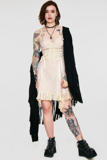 Victoriana Beige Lace Dress