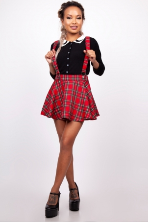You Got Plaid Suspender Skirt