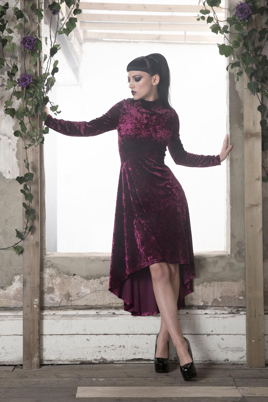 High And Low Velvet Dress