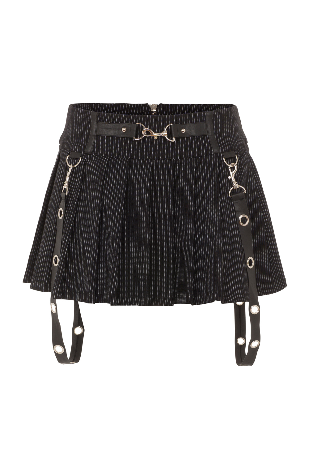 Insanity Plea Pinstripe Pleated Skirt