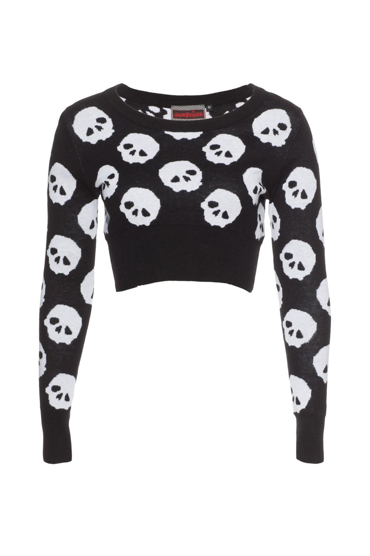Leyanna Skull Pattern Crop Sweatshirt
