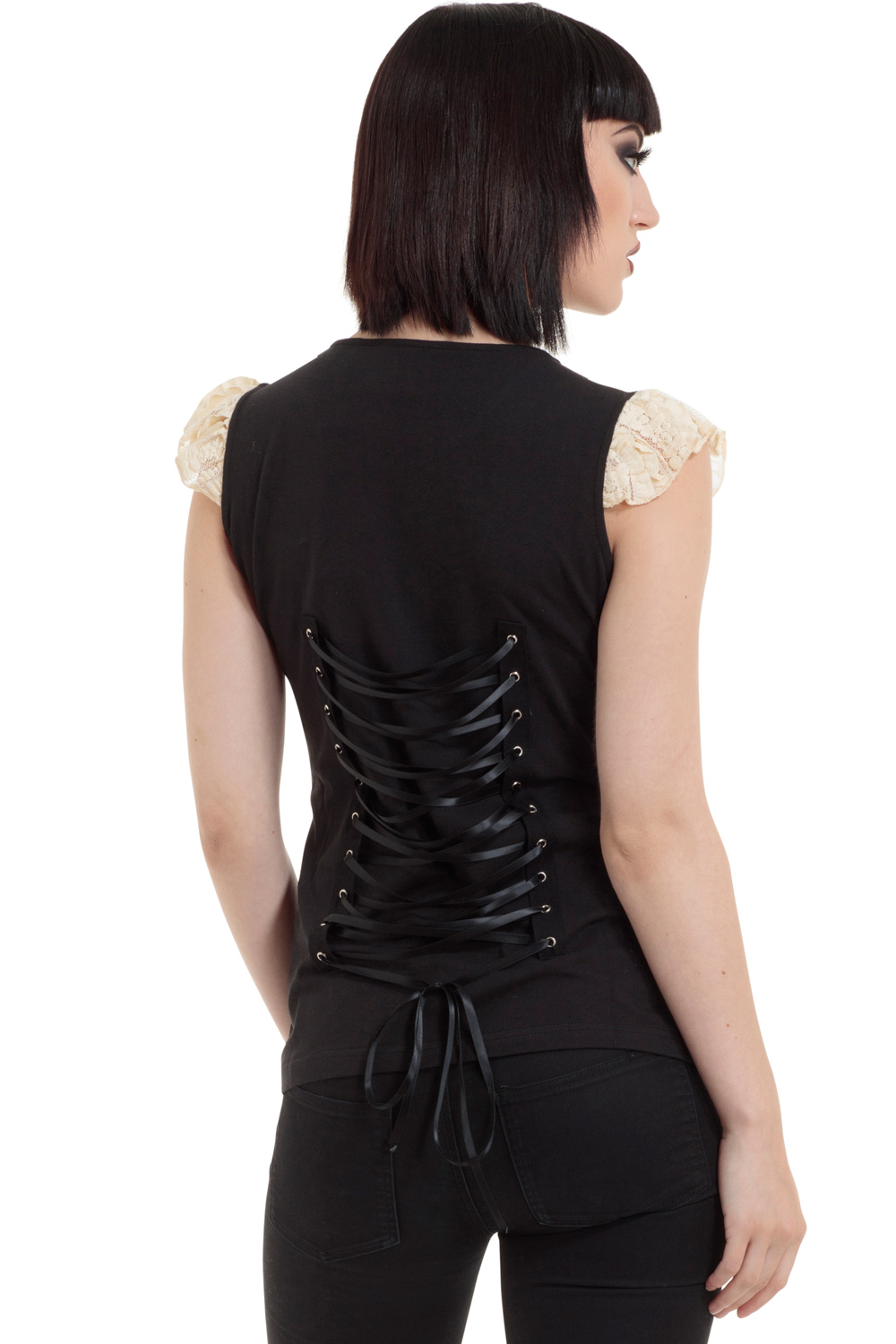 Vilify Lace Up Back Top