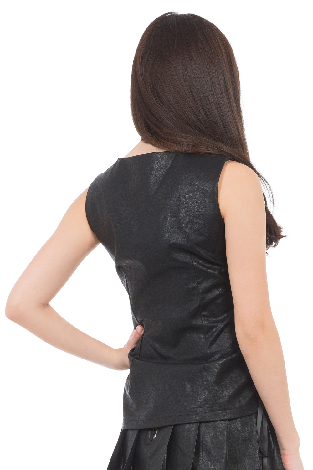 Constrict Me Zip Up Faux Leather Top